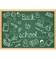 Education back to school icons over green vector