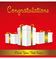 White gift boxes with golden ribbons in perspectiv vector