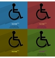 Color set disabled flat modern web button with vector