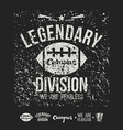 Legendary division rugby emblem and icons black vector