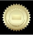 Gold star label kansas vector