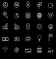 Finance line icons with reflect on black vector