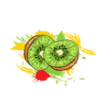 Kiwi with colorful splashes vector