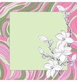Greeting card with pink magnolia flowers vector