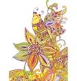 Doodle bee on flower vector