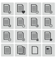 Black document icons set vector