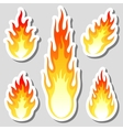 Fire flame stickers set vector