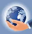 Holding earth in a hand vector
