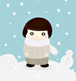 Girl in winter snow cute season greeting vector