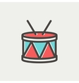 Drum with stick thin line icon vector