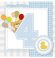 Fourth anniversary of the birthday card vector