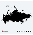 High detailed map of russia with navigation pins vector