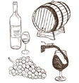 Set of wine doodles vector