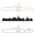 Turin skyline linear style with rainbow vector