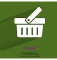 Shopping basket flat modern web button with long vector
