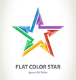 Flat color 3d star logo with arrows colorful vector