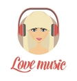 Smiling young girl listening music avatar vector