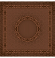 Vintage square card on damask seamless background vector