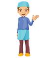 A muslim boy waving his left hand vector