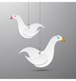 Paper birds hang on rope vector