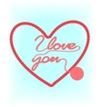 Valentine card with knitted heart vector