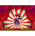 A stage with a witch and her flying broom vector