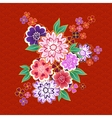 Decorative kimono floral motif on red background vector