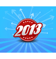 2013 label on blue background with arrows vector