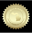 Gold star label michigan vector