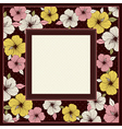 Frame of hibiscus on brown background vector