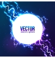 Shining electric lightning white circle frame vector