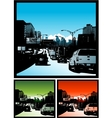 Traffic jam background downtown city vector