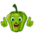 Green pepper character giving thumbs up vector