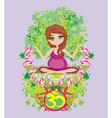 Pregnant girl sits and meditatesabstract card vector