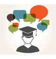 Student with speech bubbles vector