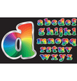 Colorful rainbow alphabet with silver frame vector