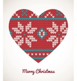 Xmas heart ornaments - seamless knitted background vector
