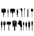 Different cable silhouettes vector