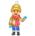 Cartoon a boy in winter clothes waving vector