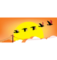 Silhouette flying birds at sunset vector