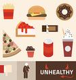 Various unhealthy food - pizza donut burger soda vector
