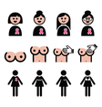 Breast cancer woman with pink ribbon icons set vector