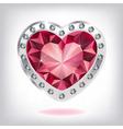 Ruby heart in diamonds vector