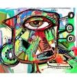 Abstract digital painting artwork of doodle bird vector