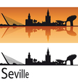 Seville skyline in orange background vector