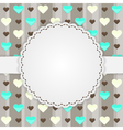 Brown card template with many hearts vector