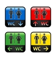 Restroom - colored stickers vector