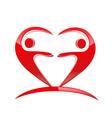 Teamwork heart shape logo vector