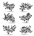Black jolly staves with musical notes on white vector