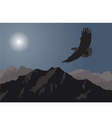 Eagle flying over the mountains vector